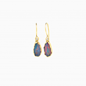 Earrings Opal & Diamond